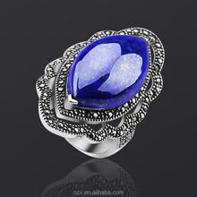 OUXI fashion nepal ethnic blue stone silver ring jewelry G70023-2