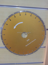 14 inches cutting concrete with steel inserted disc diamond saw blade