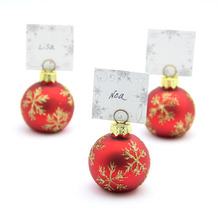 Christmas Frosted Glass Bauble Table Name Place Card Holders