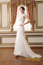 campione semplici immagini pianura nuova collo alto di pizzo abiti da sposa coda di pesce abito da sposa con la manica corta