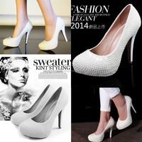 DS023 FreeShipping 2014 Ivory Wedding Shoes Pearl 100% Handmade Women Fancy Platform Shoes Bridal Beading Platforms Sandal