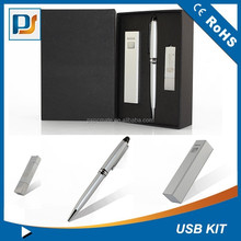 2015 Promotional Gifts, High-grade computer accessories black gifts set kits 3 in 1 including power bank&stylus pen &usb disk