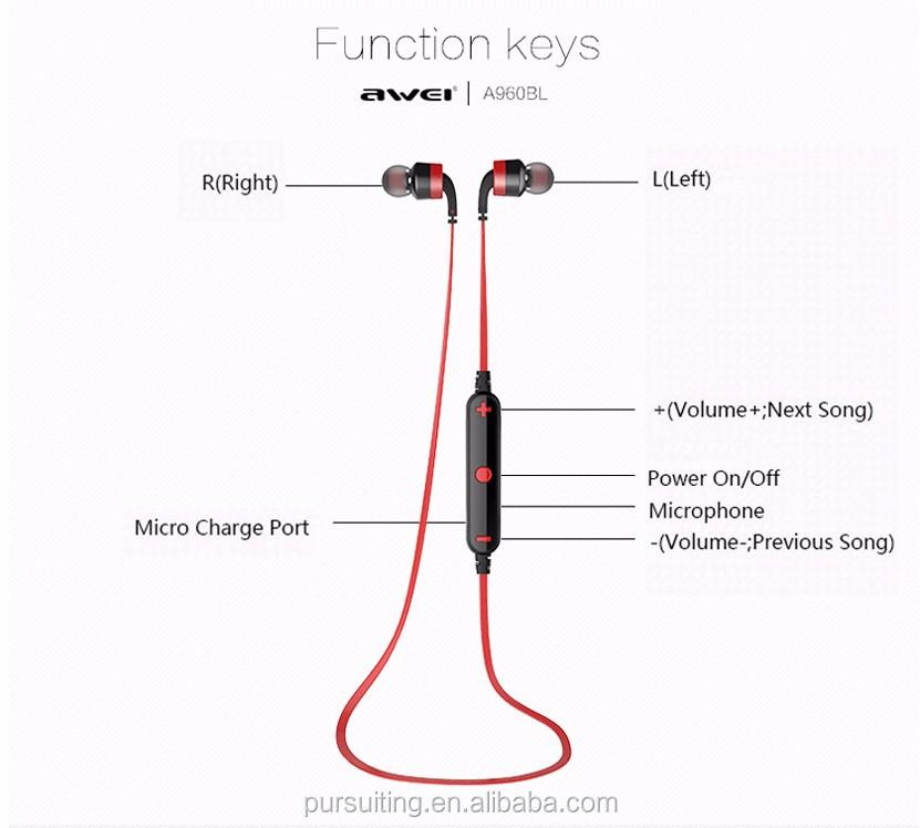 new awei a960bl bluetooth sport headset in ear noise