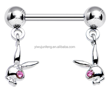 Licensed Pink Gem Eye Gleaming Dual Playboy Dangle Nipple Stretching Jewelry Piercing
