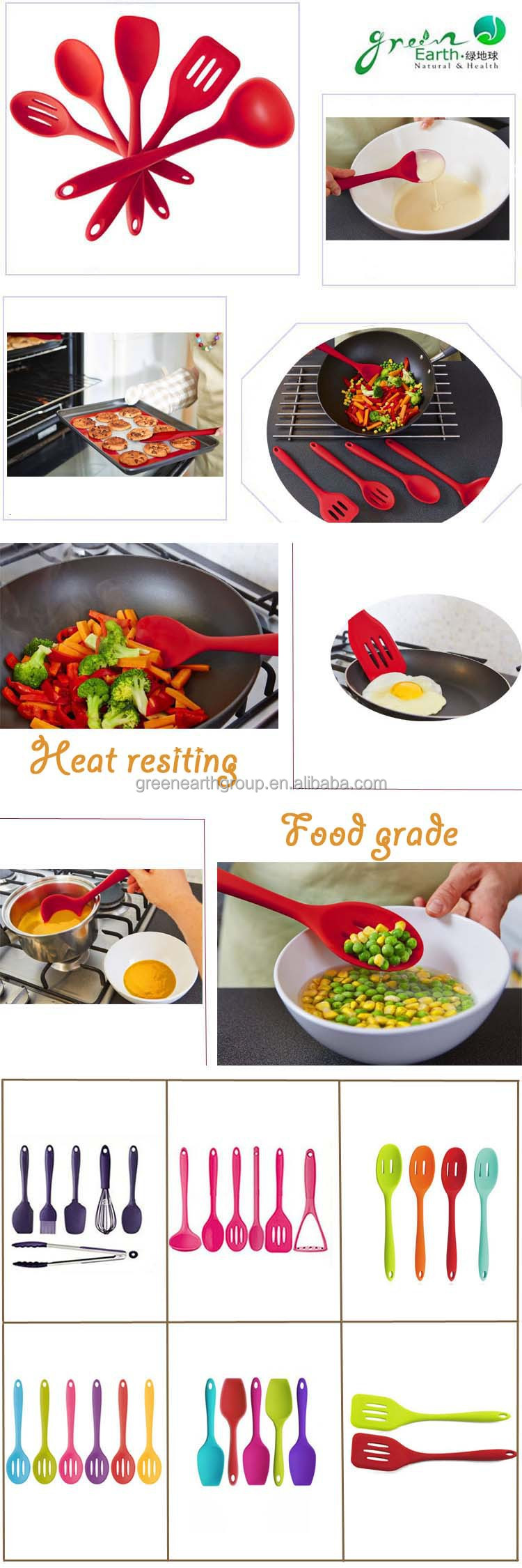 2015 Hot Sale food grade nylon silicone kitchen tool set/silicone kitchen accessories/ colorful bbq silicone kitchen utensil