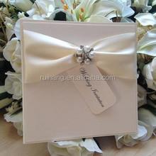 royal satin ribbon fold pocket pearl brooch & label wedding invitation cars