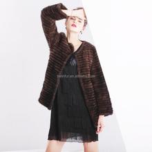 Fashion women brown jacket winter mink fur coat