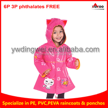 waterproof rainproof PVC kids long rain poncho