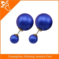 Elegant Double Sides Pearl Earring Charm Dark Blue Fashion Stud Earrings for Women