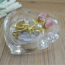 New products purpl color wind up heart crystal music box with custom music