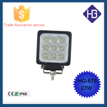 Factory sales aluminum housing 12V IP68 led work light 27w Jeep Boat Off-road SUV