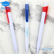 Pretty White Plastic pen with logo plastic ball point pen