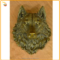 Cast Iron Animal Head Sculpture Bronze Wolf Head Wall Art Sculpture For Decoration