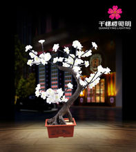 1.2m 7W white red yellow pink led artificial cherry bonsai landscape lighting blossom for home & office & hotel decoration