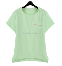 ladies yarn dyed green Cotton and linen loose short sleeve t-shirt with zipper