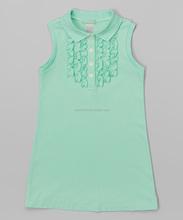 vivid green ruffle vest and miniskirt kids bedroom sets 100% cotton children dress girls outfits pant sets