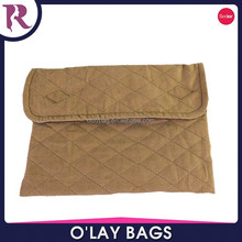 China custom quilted cotton plain envelope clutch bag