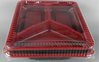 Hot sale 3 compartment microwavable food container with lid for ready meals food packaging disposable plastic container