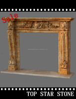 Carved Natural Limestone Stone Fireplaces Mantels