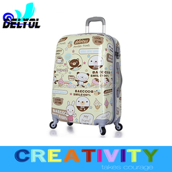 2015 new cartoon design abs+pc trolley luggage suitcase/luggage cabin