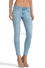 Light Blue Women Cropped Jeans From Professional Manufacturer with Low Price