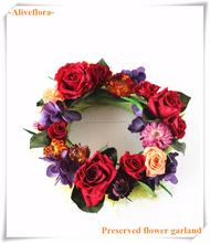 Flor preservada guirnalda para la navidad adornos