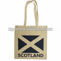 hot natural eco-friendly 100% cotton shopping tote bag with national flag printing