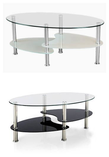 De forme ovale en verre tremp table basse ikea tables en for Table verre ikea