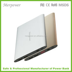 Metal ultra slim dual output 2 USB high capacity fast charge travel Mobile power bank18000mah