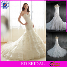 LN26 2016 New Collection Silver Appliqued Tired Organza Long Train Style Alibaba Customized Real Sample Mermaid Wedding Dress