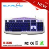 3 color led backlit usb gaming keyboard, durable luminous gaming keyboard for gamer