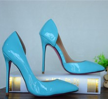 blue patent leather side open stiletto high heel shoes red/pink/blue/nude bottom customized thin heels sexy shoes