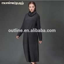 2015 estilo europeo cowl cuello de punto las mujeres x- largo elegante vestido de suéter