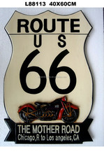 Wood Home Decorative American 66 Route & Motor Wall Sign , Wall hanging art