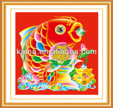 HOT SELLING FISH DIAMOND PAINTING, FISH PAINTING ON CANVAS WALL PICTURE FOR RESTAURANT