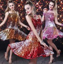 Salle de bal robe de la concurrence latine gradient paillettes jupes vêtements de performance superstar robe de danse 1303