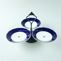 3pcs stock blue glaze ceramic cake fruit plate with metal stand