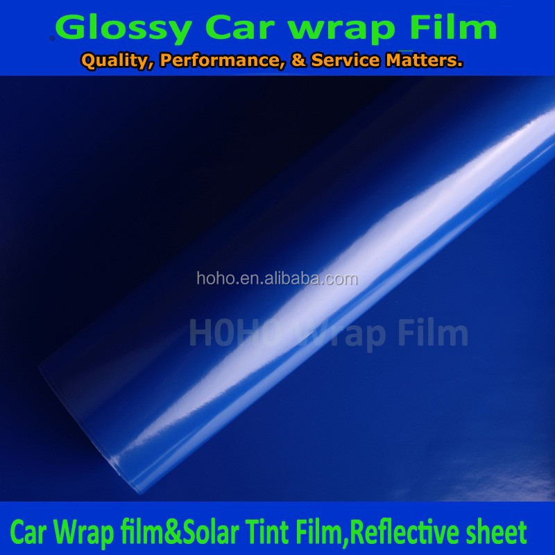 Blue glossy vinyl wrap car color changing film free sample buy blue glossy vinyl color