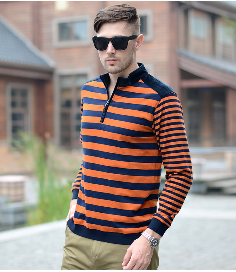 Blue Color Men Full Sleeve Cotton T Shirts POLO Shirt For Male
