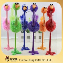 2015 colorful promational ostrich thin ballpoint pen ball pens