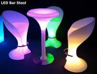 LED bar stool high leg cheap plastic LED chair for sale