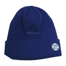 promotional cheap acrylic flat knitting children cuffed hat beanie with custom logo