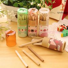 Customized printing logo 3.5 Inch12 pcs wood color pencil In Paper Tube