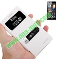 Leather Flip Protective Case for Huawei Ascend P6 with Call Display ID