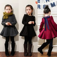 A146 Long Sleeve Bow Design Three Colors Autumn and Winter Girl Dress