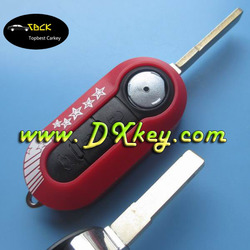 Red Color 3 button remote key blank SIP22 folding blade for Fiat remote control case fiat 500 key cover