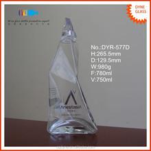750ml irregular shaped large alcohol glass bottle factory