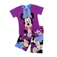2015 Summer New Minie Apparel For children Clothing set Girl's Short sleeve set kids summer pajamas factory price