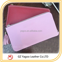 Solid Color Thin OEM Lady PU Wallet with Tassel