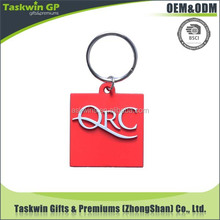 custom design red rubber keychain with letter for brand promotional gift